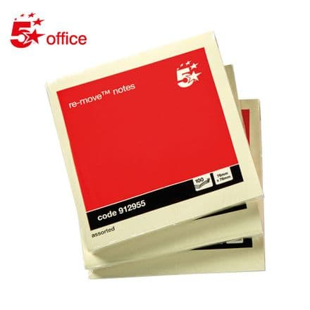 5 Star Office Re-Move NotesPad of 100 - 76x76mm - Pastel Yellow