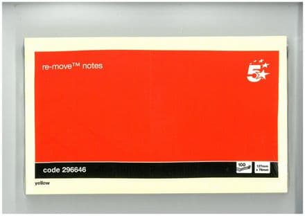 5 Star Re-move Notes / 76x127mm / Yellow / 100 Notes
