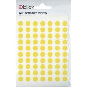 Blick Self Adhesive Labels Yellow 8mm Pack of 490
