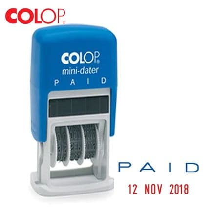 COLOP Self Inking Mini Text and Date Stamp PAID S160L2