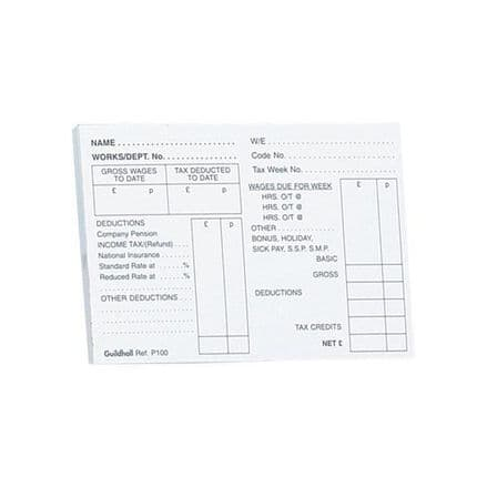 Guildhall PAYE Wages Slips Pad 100 Leaf 89x127mm