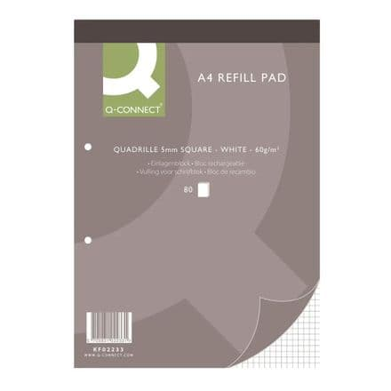 Q-Connect - A4 Quadrille 5mm Square Ruled Headbound Refill Pad