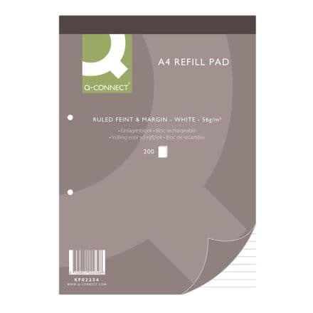 Q-Connect - A4 Refill Pad - Ruled Feint & Margin - 200 Sheets