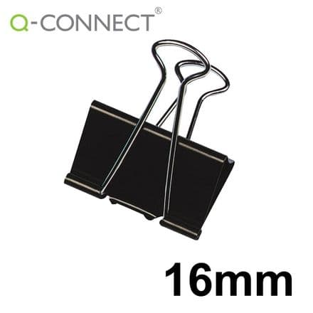 Q-Connect Foldback Clip 16mm Black (10 Pack)