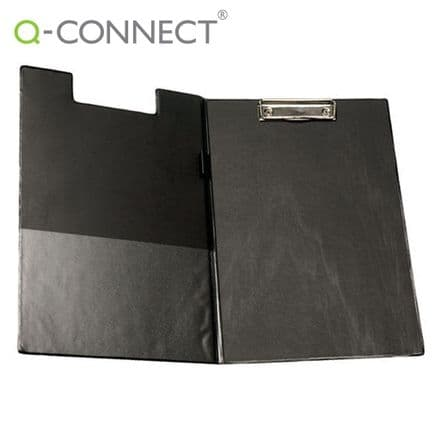 Q-Connect PVC Foldover Clipboard Foolscap Black