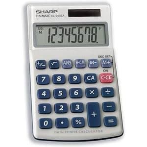 Sharp Elsi Mate EL-240SAB - Pocket Calculator - 8 digits - Solar Panel, Battery