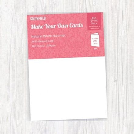Southfield Embossed Card - A4 Natural White Hammer 300gsm - 100 Sheets