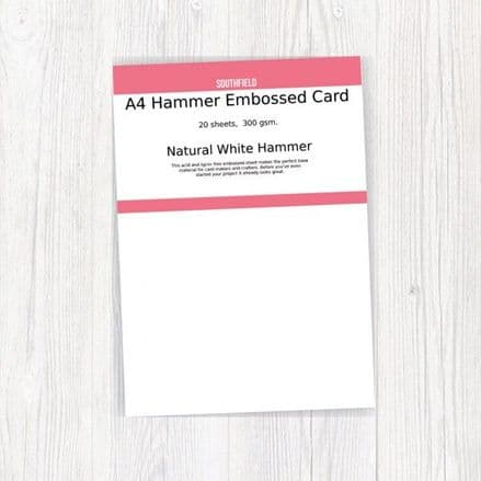 Southfield Embossed Card - A4 Natural White Hammer 300gsm - 20 sheets