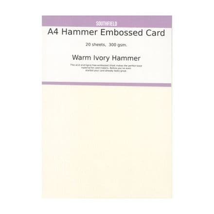 Southfield Embossed Card - A4 Warm Ivory Hammer 300gsm - 20 sheets