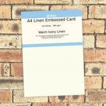 Southfield Embossed Card - A4 Warm Ivory Linen 300gsm - 20 sheets