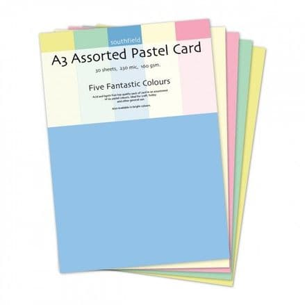 Southfield Pastel Card - A3 Assorted 160gsm - 30 Sheets
