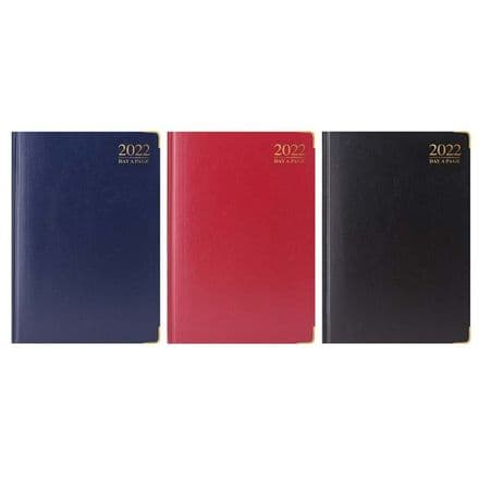 Tallon 2022 Day-A-PagePadded Diary with Gilt-Edge and Metal Corners - A4