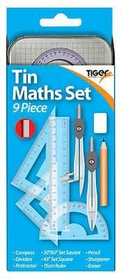 Tiger Stationery 9 Piece Mathematical Instruments Set in Tin Case