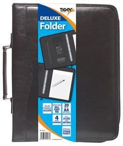 Tiger Stationery A4 Black Deluxe Leather Look Ring Binder Folder