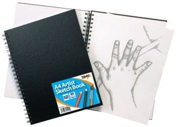 Tiger Stationery A4 Wiro Bound Artist Sketch book, 80 sheets perforated 110gsm Acid Free Pages