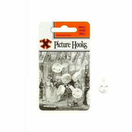 X Picture Hooks White Nylon Pack of 5