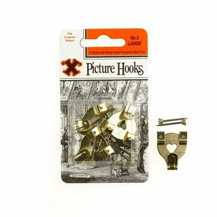 X Picture Hooks with Brass Head Tempered Steel Pins