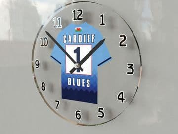 Cardiff Blues Rugby Team Jersey Personalised Wall Clock