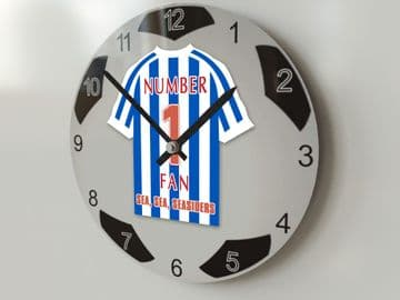 ANY TEAM NUMBER 1 FAN Football Shirt Clock - Perfect Gift for any Fan