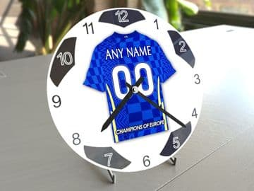 Chelsea FC Football Themed Personalised Table Clock !!
