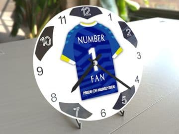 Everton FC NUMBER 1 FAN Football Shirt Clock - Perfect Gift for any Toffees Fan