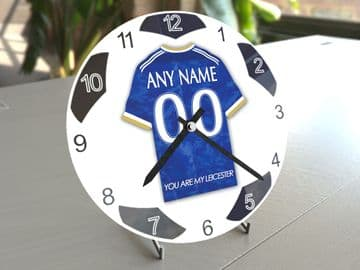 Leicester City FC Football Themed Personalised Table Clock !!