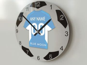 Manchester City FC Football Design Personalised Wall Clock