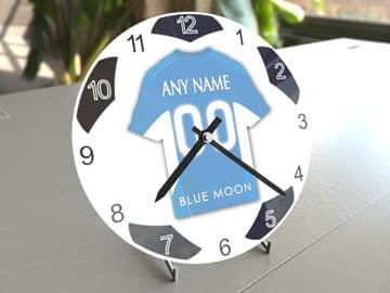 Manchester City FC Football Themed Personalised Table Clock !!