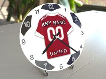 Manchester United FC Football Themed Personalised Table Clock !!