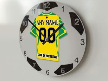 Norwich City FC Football Design Personalised Wall Clock