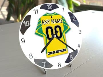Norwich City FC Football Themed Personalised Table Clock !!