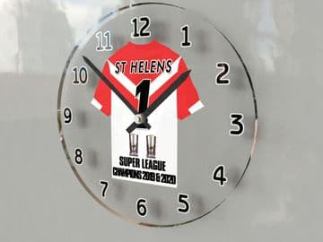 St Helens RLFC Super League Grand Final Winners 2020 Jersey Themed Clock -  Back to Back Champs!