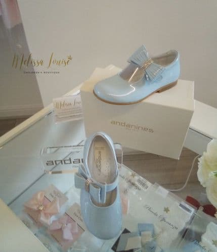 Andanines Blue Patent Side Bow Shoes