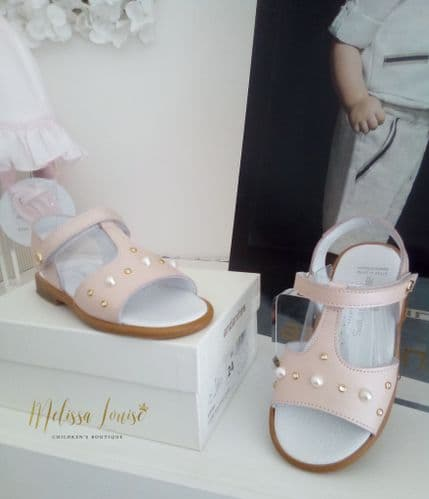 Andanines Pink Pearl And Diamanté Sandals