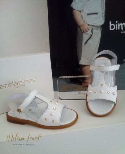Andanines White Pearl And Diamanté Sandals