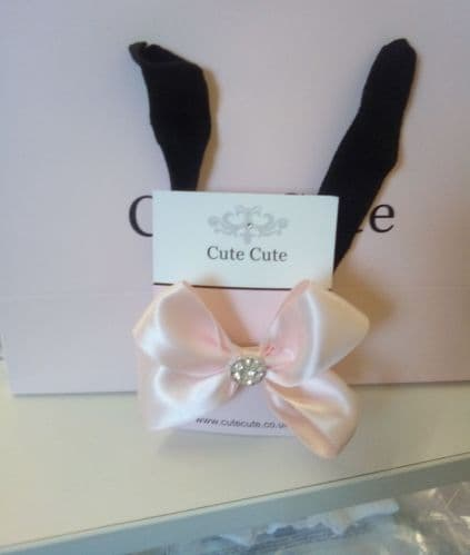 Cute Cute Pink Satin Double Bow With Rhinestone