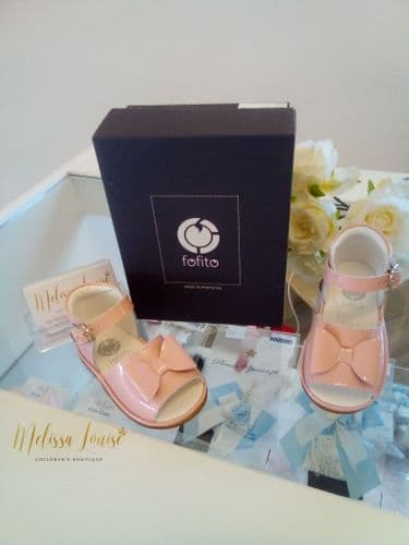Fofito Pink Patent Bow Sandals