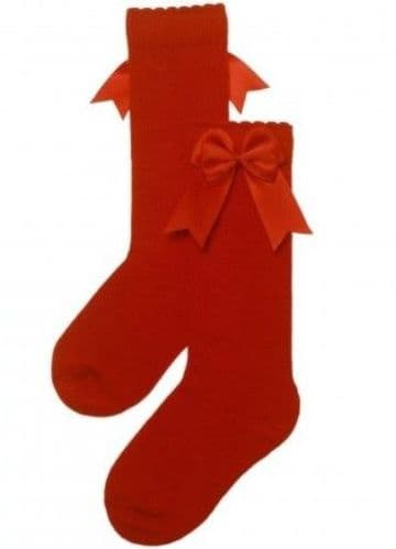 Red Knee High Double Bow Socks