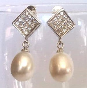 10-11mm Pearl Drop Ear-rings with Sterling silver and CZ settings