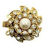 2-row box clasp with Swarovski crystals and pearl (gold)