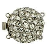 2-row box clasp with Swarovski crystals (silver)