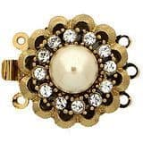 3 row box clasp with Swarovski crystals and pearl (gold)
