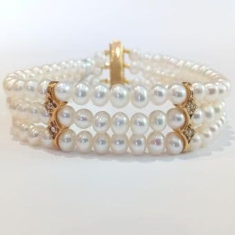 3 Row Bracelet of Grade A pearls