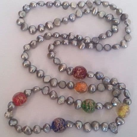 32 inch grey pearl necklace with gold-sand lampwork beads