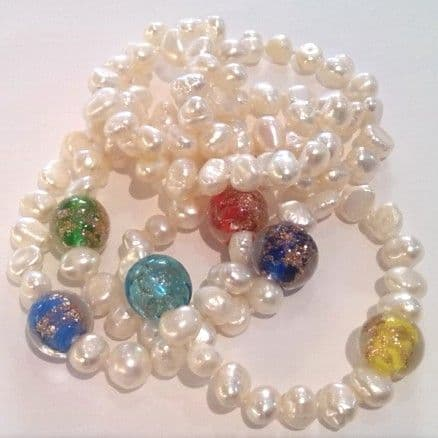 32 inch white pearl necklace with gold-sand lampwork beads
