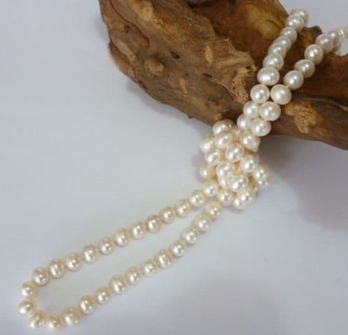 50 inch lustrous natural 8 - 9mm pearl necklace