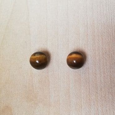 7-8mm tigers eye studs on 925 sterling silver posts
