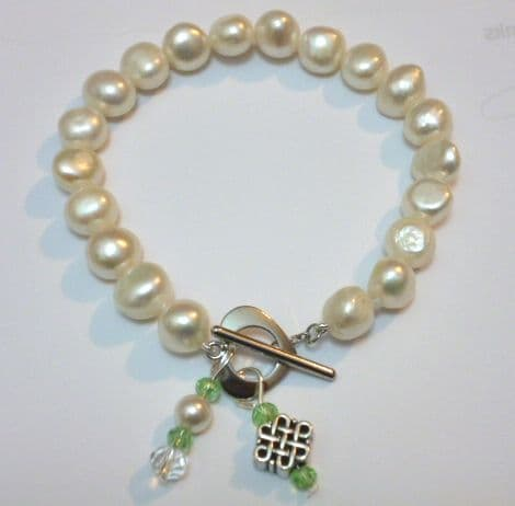 Baroque Pearl Bracelet with Celtic Style 'Infinity' Knot and Green Crystal Pendant