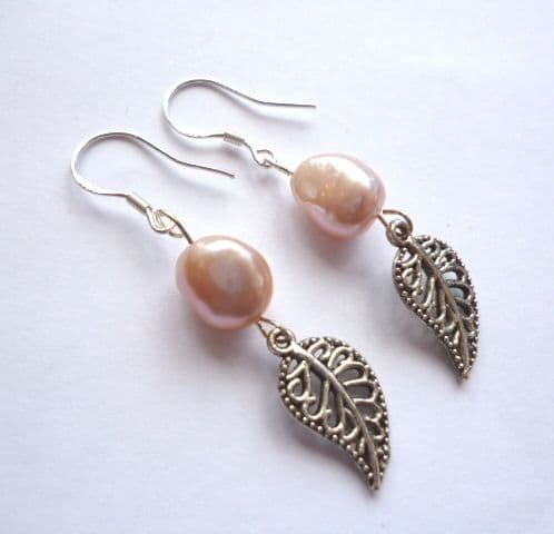 Baroque pearl earrings with Tibetan silver leaves