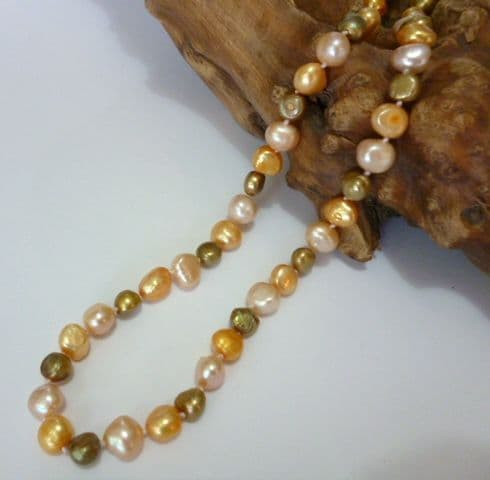 baroque pearl necklace in peach pink, gold and champagne